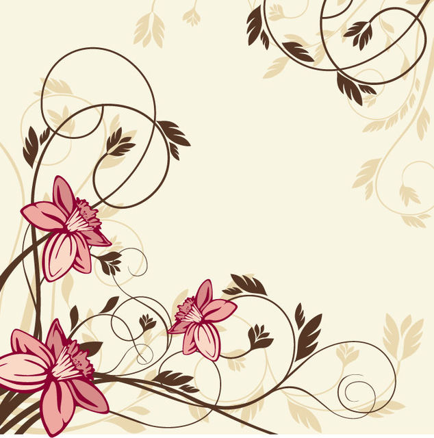 Free Simplistic Swirling Vintage Floral Background