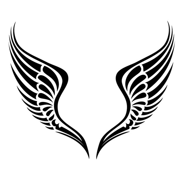 Free Black & White Tribal Wings