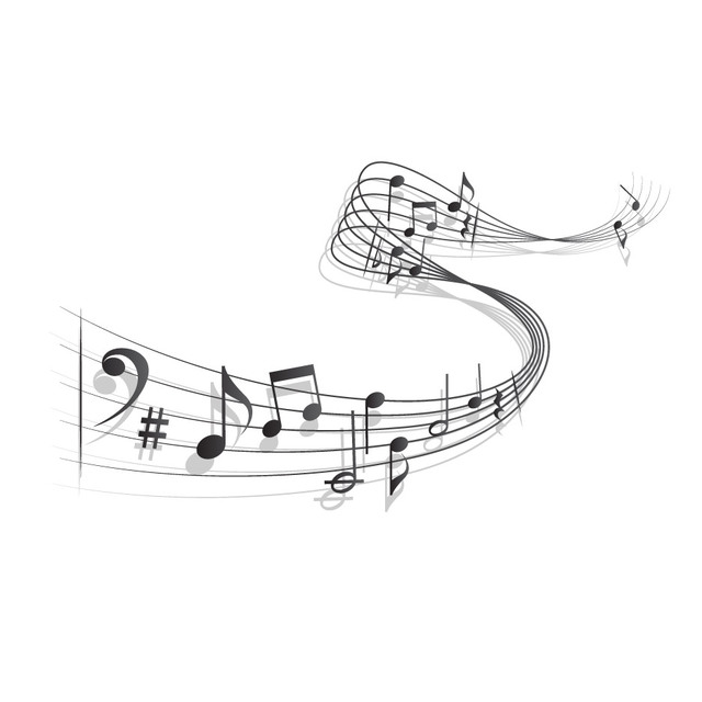 Free Waving 3D Musical Note