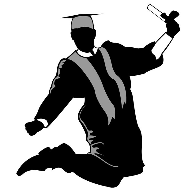Free Vectors: Happy Graduate Silhouette Jumping In The Air
