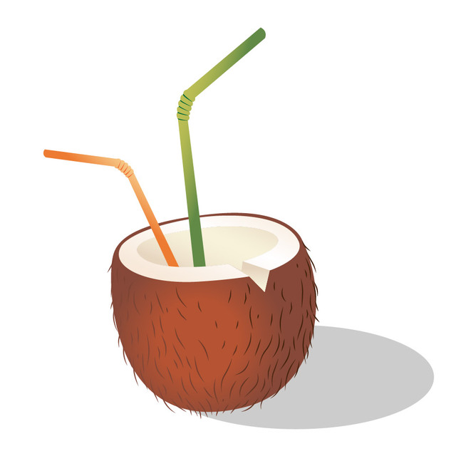 Free Coconut Cocktail with Straw