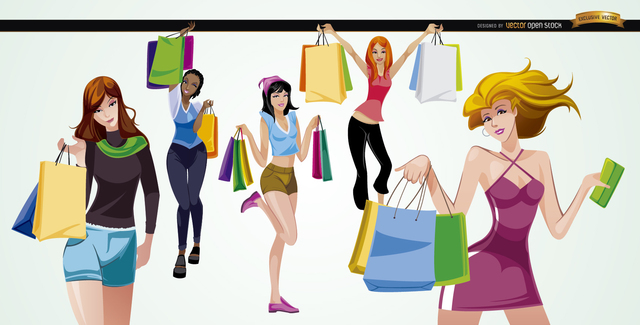 Free 5 Girls with shopping bags