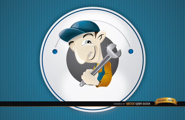 Free Plumber round cartoon logo