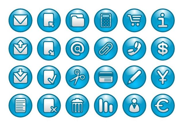 Free Blue Web Buttons with Simplistic Icons