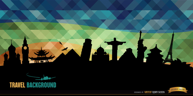 Free Vectors: World monuments silhouettes background | Vector Open Stock
