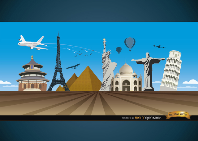 Free Travel marvels around world background