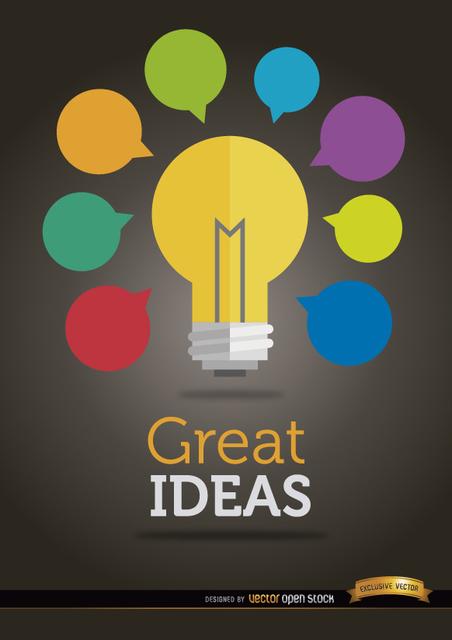 Free Colorful ideas light bulb