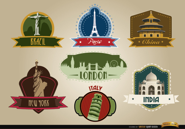 Free 7 Countries landmark emblems