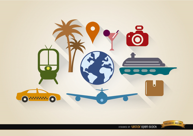 Free 10 Travel tourism elements set