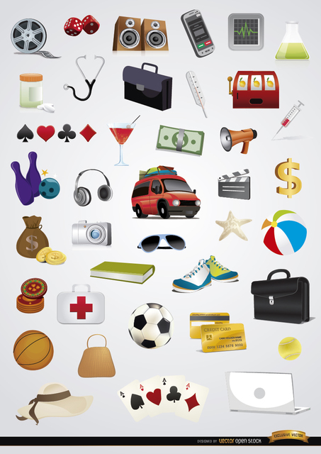 Free 40 Holidays entertainment icons set