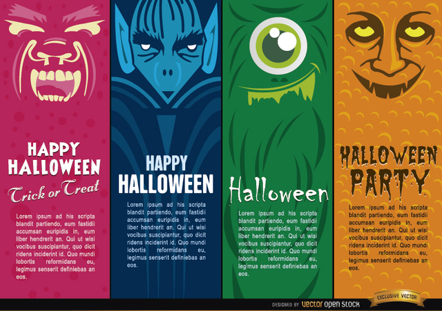 Free Halloween monsters bookmarks