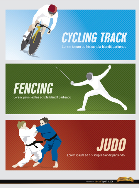 Free Cycling, fencing, judo sport headers