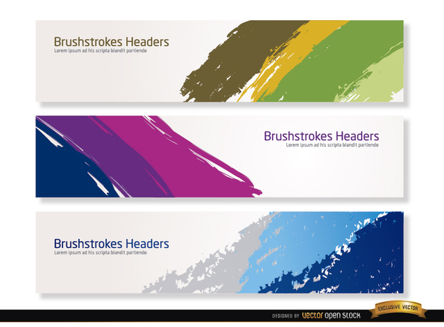 Free Colorful brushstrokes headers