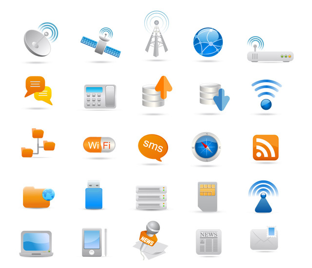 Free Glossy Communication Icon Set