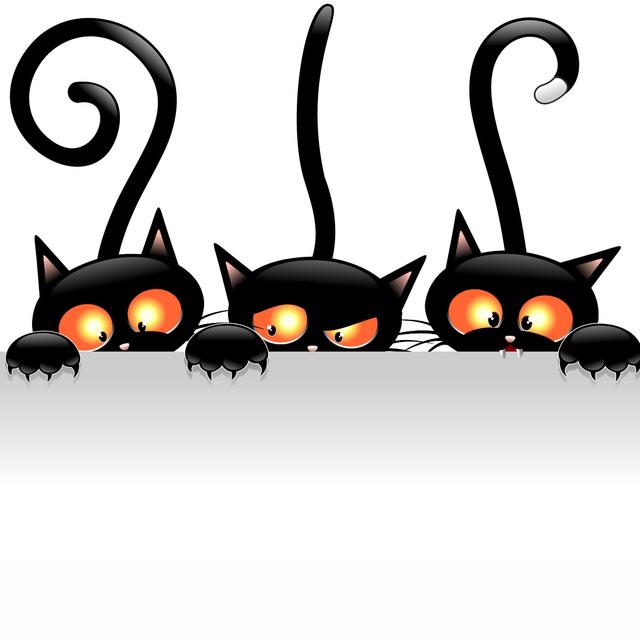 Free Creepy Halloween Cats Holding Blank Banner