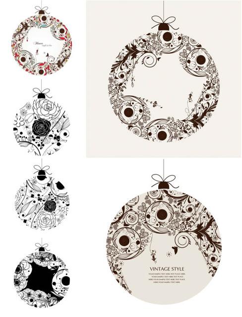 Free Floristic Vintage Ornamental Ball Set