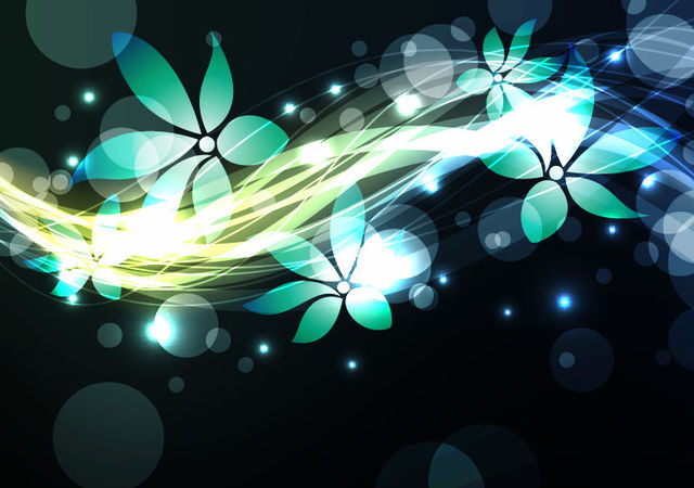 Free Shiny Glowing Blue Floristic Background