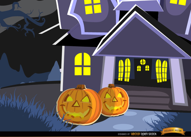 Free Vectors: Haunted mansion and pumpkins background | Vector Open Stock