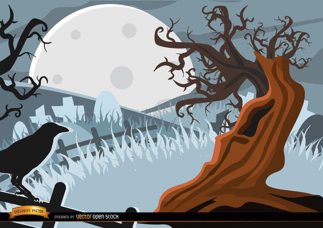 Free Creepy Crow and tree background