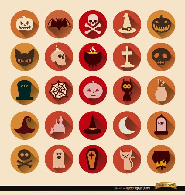 Free 25 Terror Halloween round icons