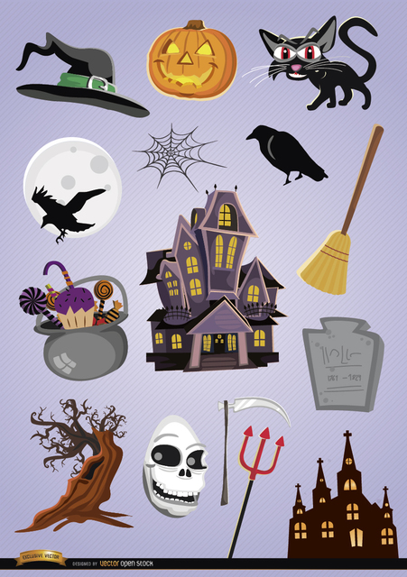Free 15 Horror Halloween cartoon elements