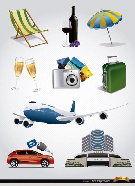 Free 9 Vacation tourism elements set