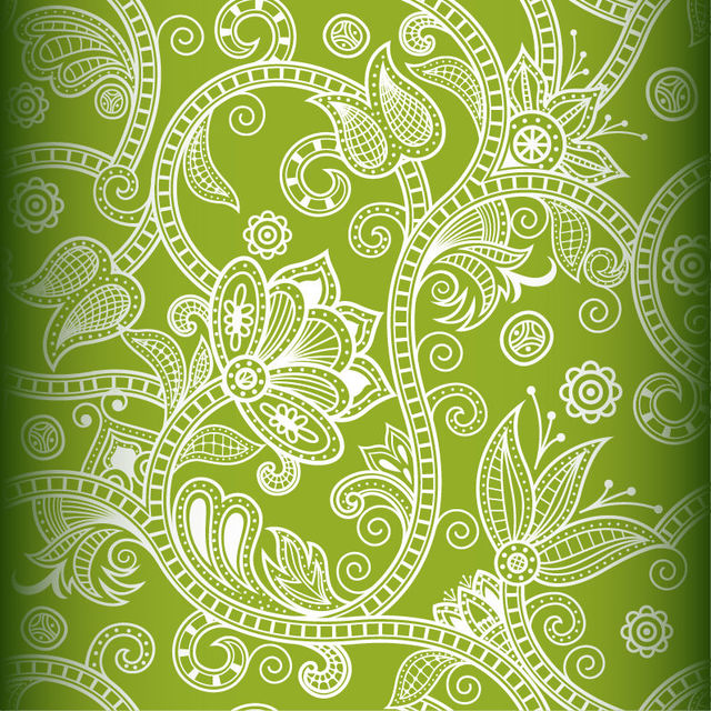 Free Seamless White Floral Decoration on Green