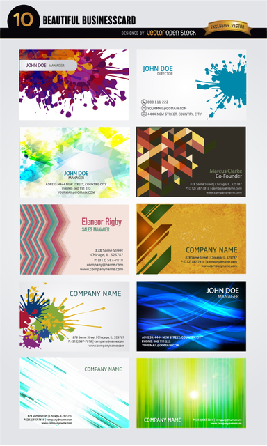 Free 10 Artistic business card abstract designs