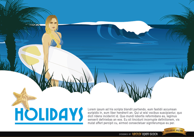 Free Cartoon surfer girl background