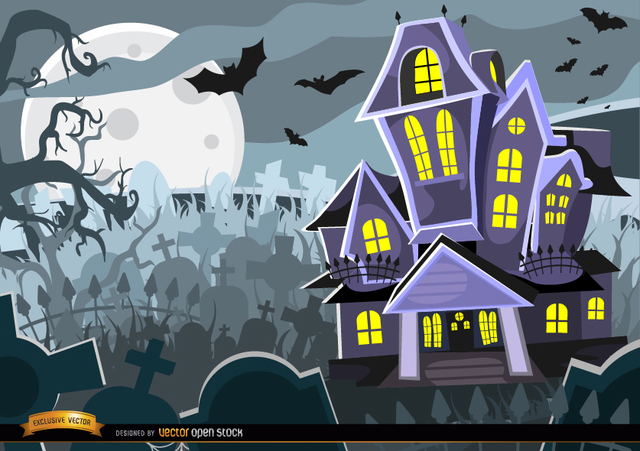 Free Halloween Haunted mansion graveyard background