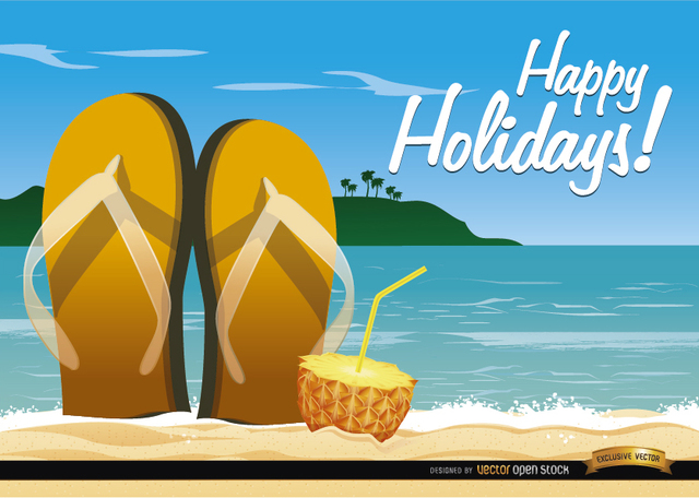 Free Beach sandals cocktail background