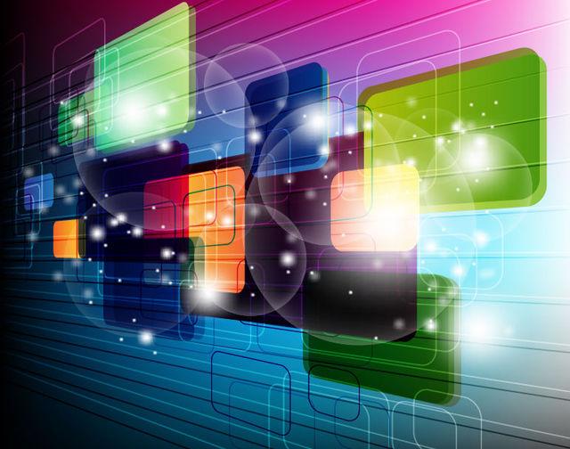 Fluorescent 3D Squares Technology Background