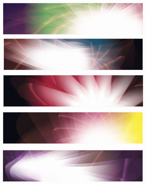 Free Shiny Glowing Abstract Colorful Banner Set