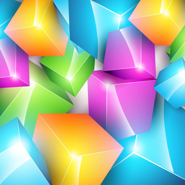 Free Colorful Crystallized 3D Cubes Background