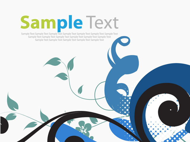 Free Simplistic Swirling Floral Corner with Halftone