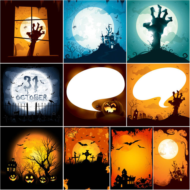 Free Vectors: Creepy Hunted Halloween Design Set  | Temotato