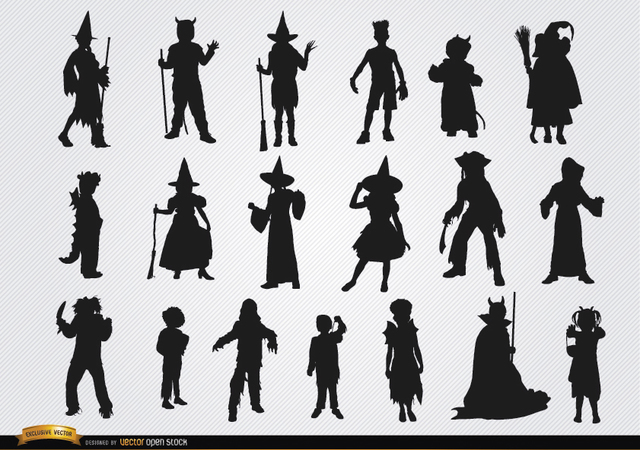 Free Halloween children costumes silhouettes