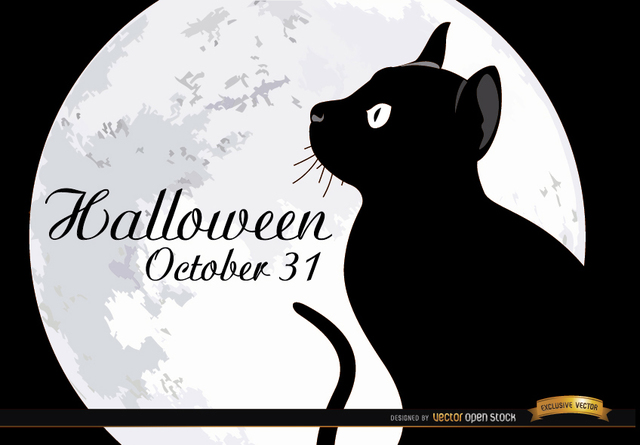 Free Halloween full moon cat background