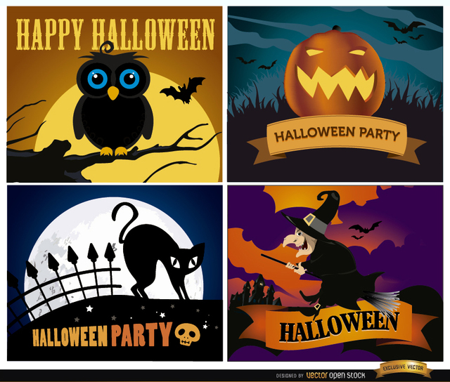 Free Happy Halloween backgrounds set