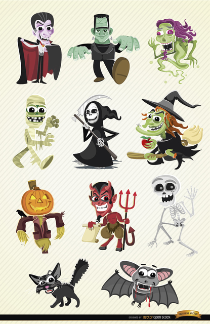 Free Halloween cartoon characters set