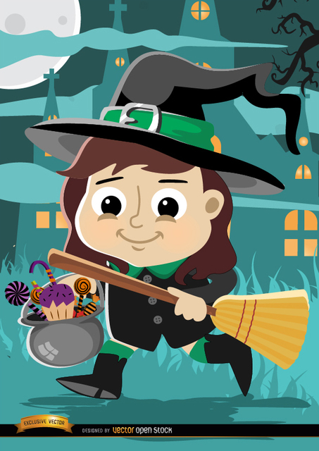 Free Vectors: Halloween cartoon girl witch costume | Vector Open Stock