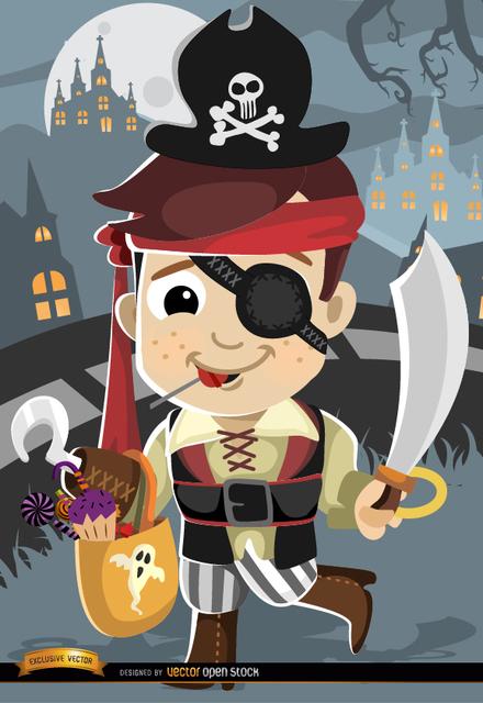 Free Halloween cartoon kid pirate costume