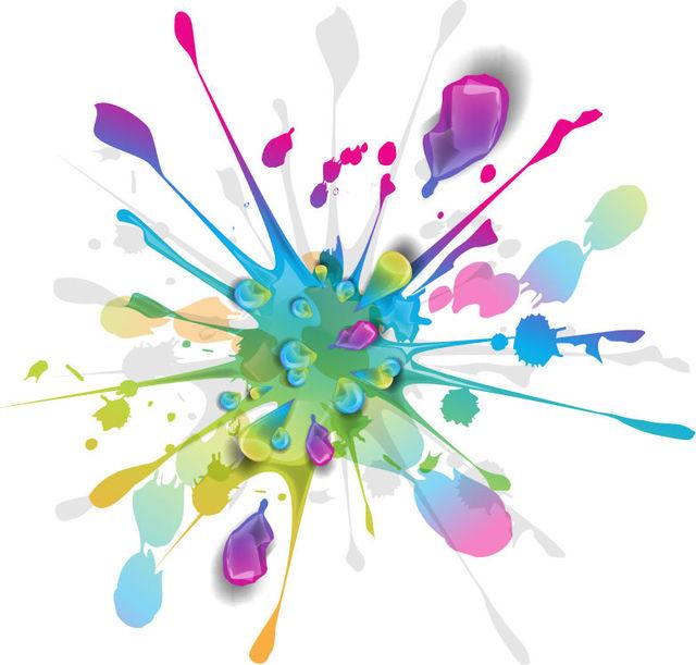 Free Splashing Ink Paint Colorful Background