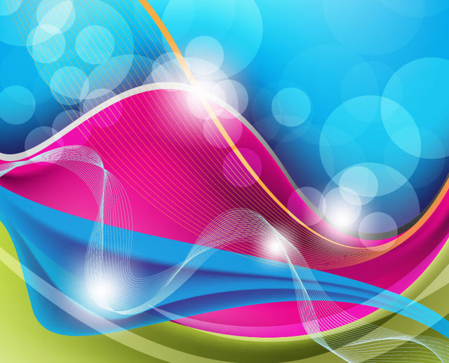 Free Colorful Waves, Spiral Lines, Curves & Bokeh Background