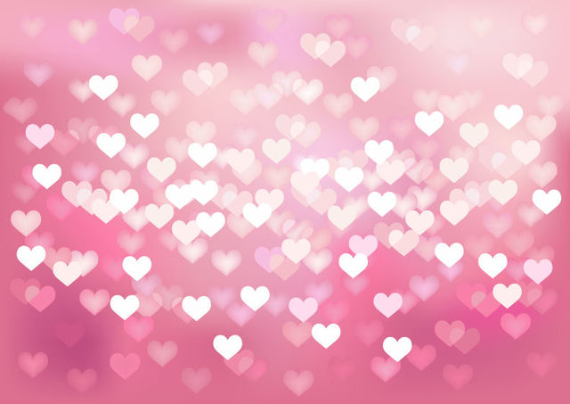 Free Glowing Bokeh Hearts Wedding Background