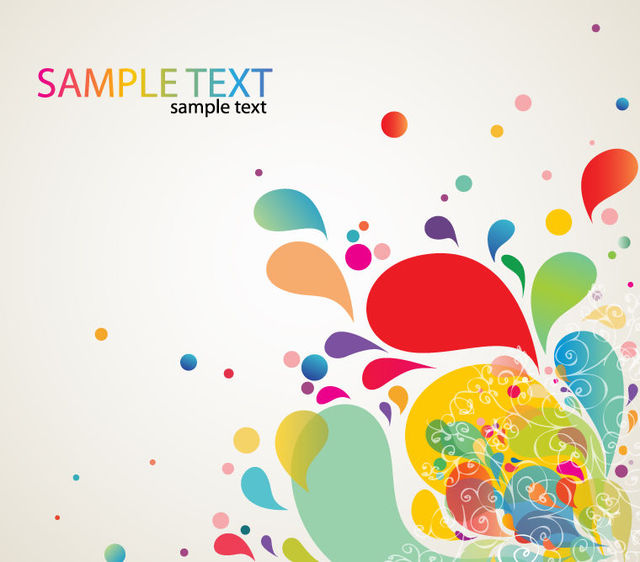 Free Vectors Colorful Abstract Swirls Paint Splashes