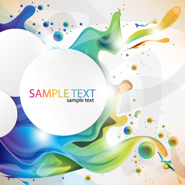 Free Circular Banner on Colorful Splashing Paint Background