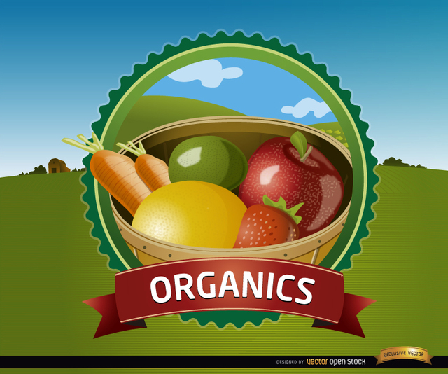 Free Organic fruits seal