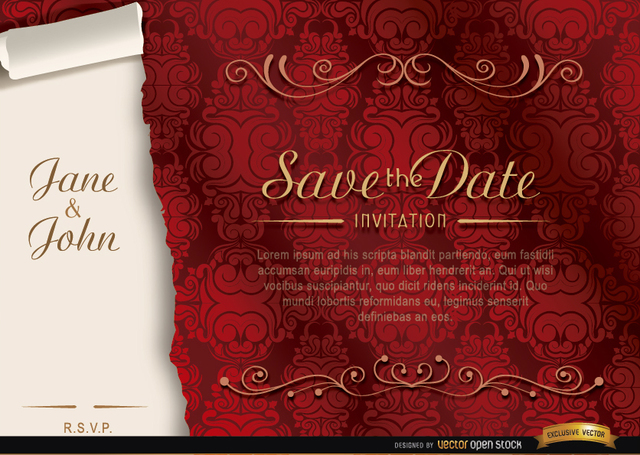 Free Elegant floral marriage invitation