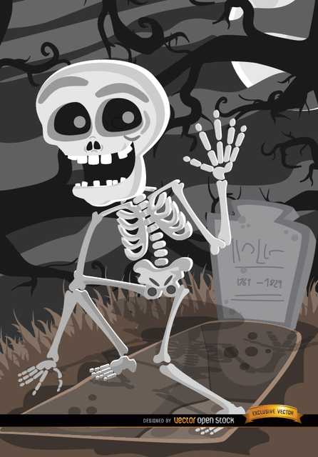 Free Cartoon Skeleton tomb graveyard